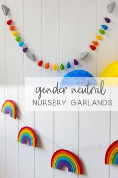 Discover ideas for a colourful gender neutral nursery from FeltTails. Fill baby'… Discover ideas for a colourful gender neutral nursery … Nursery Room, Girl Nursery, Kids Bedroom, Bedroom Decor, Bedroom Ideas, Unisex Baby Room, Rainbow Bedroom, Rainbow Kids Rooms, Rainbow Nursery Decor