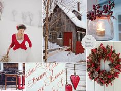 {cozy little christmas}: a palette of red, brown, gray   white