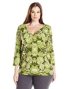 Caribbean Joe Womens Three Quarter Sleeve Printed Sweetheart Placket with Gold Buttons Health Green XL >>> Be sure to check out this awesome product.
