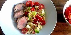 Souvlaki-Style Pork Tenderloin with a Tomato, Olive, Feta & Roasted Red Pepper Salad Recipes | Food Network Canada