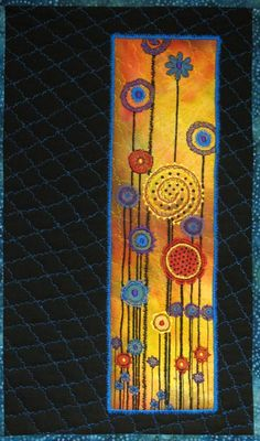 Beautiful mixed fiber art wall hanging