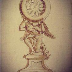 """Pietro Ligari """"Orologio sostenuto da Talamone inginocchiato"""" Penna e inchiostro bruno-giallastro su traccia a lapis, pennellate della stessa tinta diluita su carta bianca."""