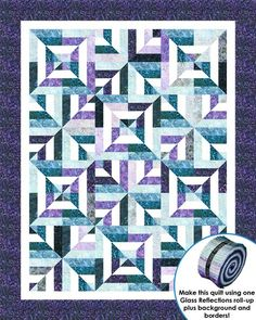 """FREE pattern: """"Sassy Squares"""" by Cozy Quilt Designs (from Robert Kaufman Fabrics) Very cool/simple illusion!"""