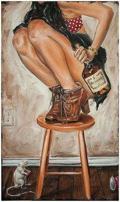 """Rats its Henny"" BAR WALL ART hennessy Artwork Painting man cave pinup stool - Art Beat, Boris Vallejo, African American Art, African Art, American Girl, Art Fauvisme, Arte Black, Black Artwork, Dope Art"