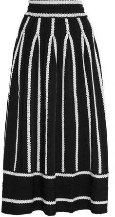 Maje Jamais Embroidered Stretch Jacquard-Knit Skirt