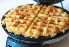 Hashbrowns cooked on a waffle iron.