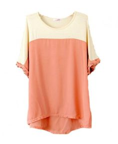 Loose Fit Color Block Cotton & Chiffon T-shirt