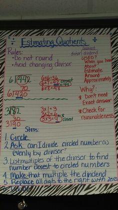 Estimating division / estimating quotients - anchor chart Math Worksheets, Math Resources, Math Activities, Math Multiplication, Maths, Fractions, Math Division, Long Division
