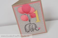 Lenky & Verzickt: Sweet Elephant Baby Wishes, It's Baby's First Birthday, Stampin' Up!, Partyballons, Love you lots