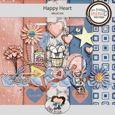 SoMa Design: Happy Heart - MiniO - Kit Kit, Happy Heart, Color Mixing, Digital Scrapbooking, Design, Style, Colors, Outfits