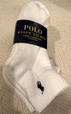 Genuine POLO RALPH LAUREN Low Cut Trainer White Grey Black SOCKS Adult 6 PAIRS