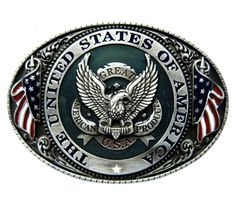 American Eagle Military Belt Buckle American Military men and women are very patriotic. They have a heartfelt admiration to their country.With an American Eagle is flanked by two American Flags, this