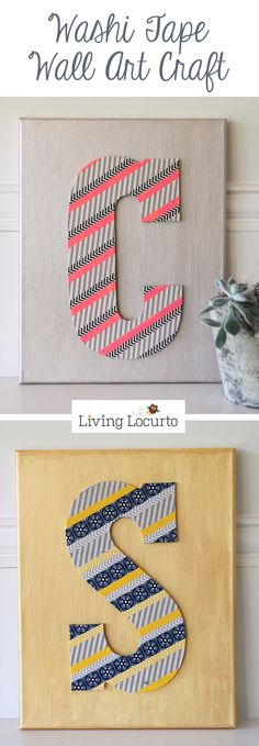 How to make washi tape wall art. Easy craft idea.