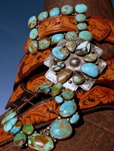 Belts with turquoise buckles!