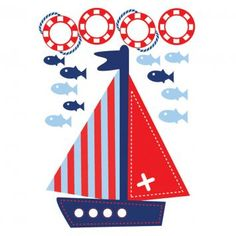 Bosco Bear  Transport Boats Afloat Wall Sticker, Blue/Red/White     Ahoy there! Navigate the stormy seas with the Boats Afloat Wall Stickers from Bosco Bear.