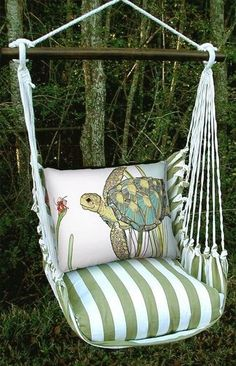 Summer Palms Sea Turtle Hammock Chair Swing Set - My Dream Swing! Perfect for reading! Hammock Swing Chair, Swinging Chair, Porch Swing, Garden Hammock, Coastal Style, Coastal Decor, Turtle Love, Beach House Decor, Home Decor