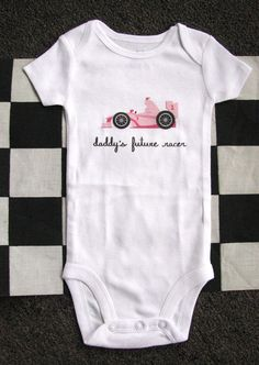 Baby Bodysuit, Toddler tshirt, Kids clothing, Race Car, F1, Racecar, Racing, Race track, Drive, Checkered flag, Comparable to a Onesie