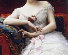 Detail of Madame Edouart Herve by Alexandre Cabanel