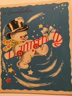 A personal favorite from my Etsy shop https://www.etsy.com/listing/478161463/vintage-christmas-card-snowman-candy