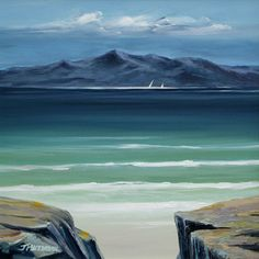 Distant Arran by Scottish contemporary landscape painter J Mackintosh Isle Of Arran, Contemporary Landscape, Art Paintings, Waves, Flat, Mountains, Bedroom, House, Life