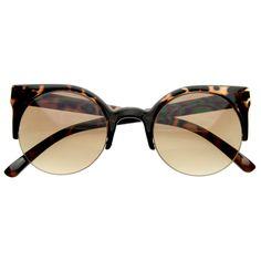 Designer Inspired Round Circle Cat Eye Semi-Rimless Half Frame Sunglasses