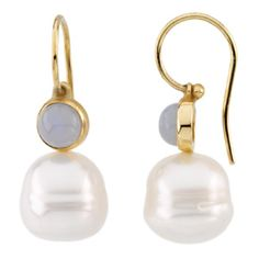 14K Yellow Gold South Sea Cultured Pearl + Chalcedony Earrings.