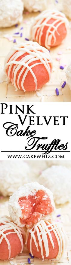 These pillowy soft PINK VELVET CAKE TRUFFLES, covered in white chocolate, are really easy to make! They taste even better than the actual cake and are perfect for Valentine's day or Mother's day! From cakewhiz.com