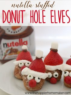 Nutella Stuffed Donut Hole Elves! Cute for Christmas for the kids!