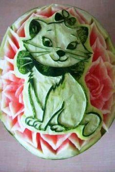 Watermelon art - cat