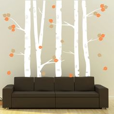 Wall Decal Birch Trees Vinyl Wall Art Sticker - Living Room Nursery Bedroom. $130.00, via Etsy.