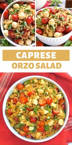 Caprese Orzo Salad is a vibrant summer pasta salad featuring tomatoes, mozzarella, and fresh basil, all topped off with a flavorful balsamic vinaigrette! Cheesy Recipes, Easy Healthy Recipes, Vegetarian Recipes, Cooking Recipes, Orzo Salad Recipes, Salad Dressing Recipes, Summer Pasta Salad, Summer Salads, Healthy Summer