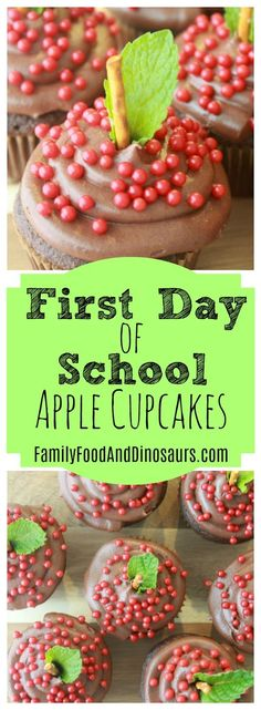 First Day of School Apple Cupcakes  These apple cupcakes are so cute and easy! They are great for an after  school surprise on the first day of school. And they make great gifts  for teachers during teacher appreciation week!  #cupcakes #teacherappreciation #teacher #appreciation #school #treat  #firstdayofschool #baking #recipes
