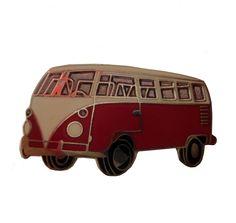 1960s VOLKSWAGEN Transporter VW BUS vintage lapel cloisonne enamel pinback tie hat pin hippie van