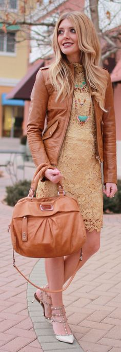 Spring transition with dress and leather jacket. Gold Lace Little Dress by Bird a la mode