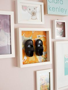For an updated spin on the traditional bronzed baby shoes, cover the back of a shadow box with colorful fabric or paper and attach a pair of spray-painted shoes. A perfect addition to your child's nursery! http://www.parents.com/baby/nursery/design/young-house-love/?socsrc=pmmpin130610krBabyShoes#page=3