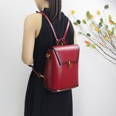 Genuine leather backpack rucksack shoulder bag messenger women's handbag crossbody bag 14067