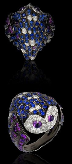 Chouette ring by Boucheron. Blackened gold with diamonds and sapphires. $18000, but I love it!
