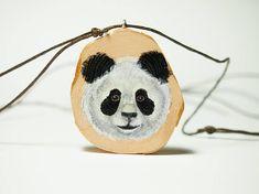 Panda face. Unique hand painted miniature art jewel jewelry #Panda #bear #teddy #jewelry #woodjewelry #wood #pendant #handpainted #painted #artjewelry #finland #art #bamboo #animal #jewelry #diy