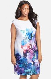 Julia Jordan Floral Print Cap Sleeve Scuba Sheath Dress (Plus Size)