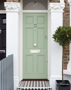 This Victorian wood front door in a mint-coloured shade called Prussian Green has six beautifully moulded panels in keeping with its period style. Georgian Doors, Victorian Front Doors, Cottage Front Doors, Green Front Doors, Wood Front Doors, Painted Front Doors, House Front Door, Front Door Paint Colors, Front Door Design