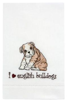 Rescue Me Now Embroidered English Bulldog Tea Towel  #giftsunder25