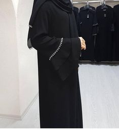 with double layer sleeves nida material Rate 2950 Simple Abaya Designs, Abaya Designs Latest, Abaya Designs Dubai, New Abaya Design, Pakistani Fashion Casual, Abaya Fashion, Muslim Fashion, Burqa Designs, Wedding Abaya