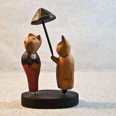zakka 杂货 复古做旧可爱夫妻猫木雕摆件 北欧原木动物雕刻 礼品的图片
