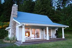 Tin roof cottage by Martha Jean Sandy Crocker Small Cottages, Cabins And Cottages, Cottage Living, Cottage Homes, Cottage Porch, Cute Cottage, Small House Plans, Little Houses, Tiny Houses