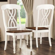 Mackenzie Country Style Two-tone Cherry Antique White Side Chair (Set of 2) `156