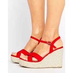 Truffle Collection Wedge Espadrille Sandal ($32) ❤ liked on Polyvore featuring shoes, sandals, red, wedges shoes, open toe wedge sandals, ankle strap wedge sandals, red wedge sandals and open toe sandals