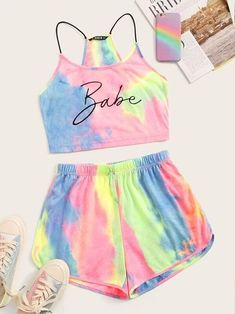 To find out about the Tie Dye Letter Cami Top & Track Shorts Set at SHEIN, part of our latest Two-piece Outfits ready to shop online today! Teenage Girl Outfits, Crop Top Outfits, Girls Fashion Clothes, Cute Outfits For Kids, Teen Fashion Outfits, Cute Summer Outfits, Cute Casual Outfits, Outfits For Teens, Preteen Fashion