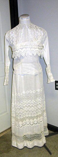 Victorian Edwardian Tea lawn Dress White Two Piece Camisole and Skirt handmade  #Unbrandedhandmade #TeaDresslawndress #Casual