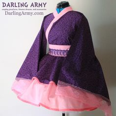 purple pink swirl Cosplay Kimono Dress Wa Lolita Skirt Accessory | Darling Army