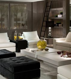Nadire Atas on Simple and Elegant Living Areas Black and white living room with golden accents Living Room Modern, Home Living Room, Living Room Designs, Living Room Decor, Interior Desing, Contemporary Interior Design, Contemporary Style, Interior Decorating, Living Room Inspiration